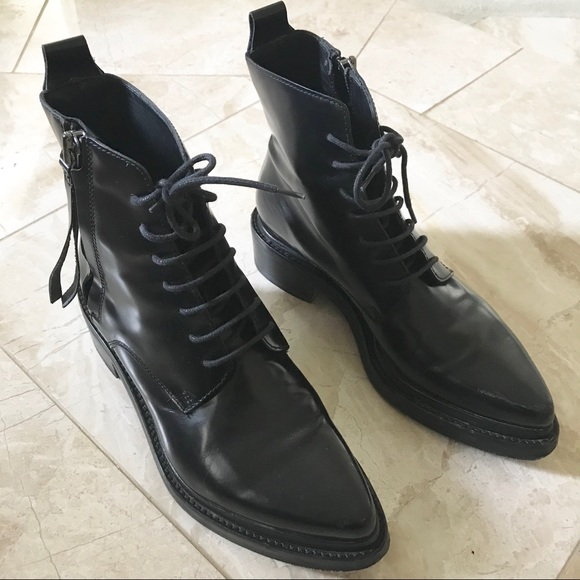 Acne Shoes   Studios Linden Black Leather Combat Boots 37   Poshmark 27cbade8eaa